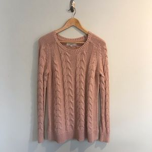 Ann Taylor LOFT Blush Pink Cable Knit Sweater M